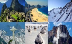 Collage with famous attractions in South America