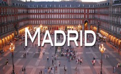 Plaza Mayor (square) in Madrid (Spain) at dusk