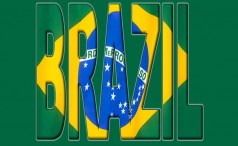 The word Brazil filled with the Brazilian flag