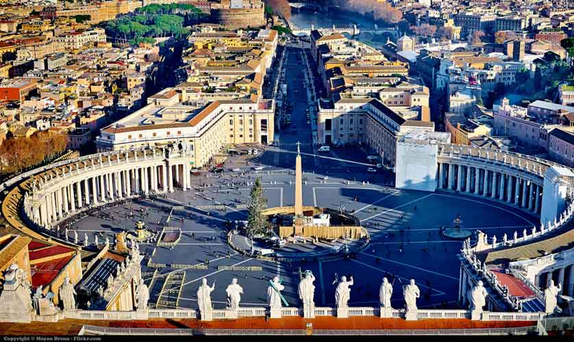 Rome, view from the top of the dome of St Peter's Basilica, in Vatican City