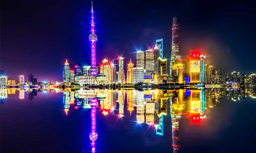 A glittering Pudong at night across the Huangpu river in Shanghai