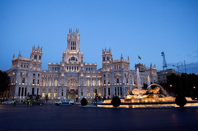 Picture of The Cibeles Palace in Madrid, Spain, taken at sunset