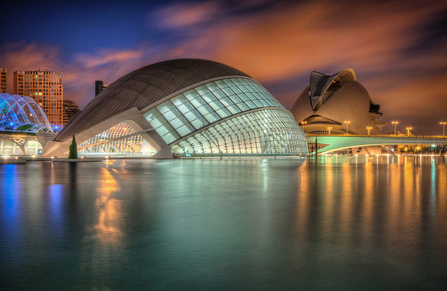 Picture of The City of Arts and Sciences in Valencia, Spain. We can see the Hemisfèric and the Palau de les Arts Reina Sofía at background