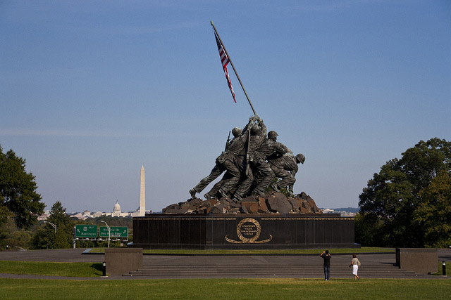 The Marine Corps War Memorial (also called the Iwo Jima Memorial)