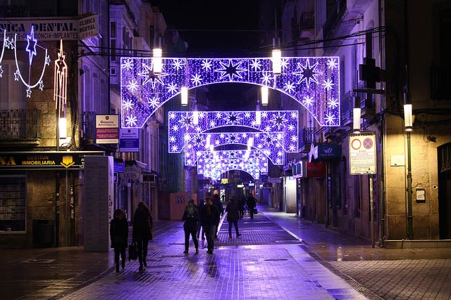 Christmas lights on Michelena street, in the city of Pontevedra.