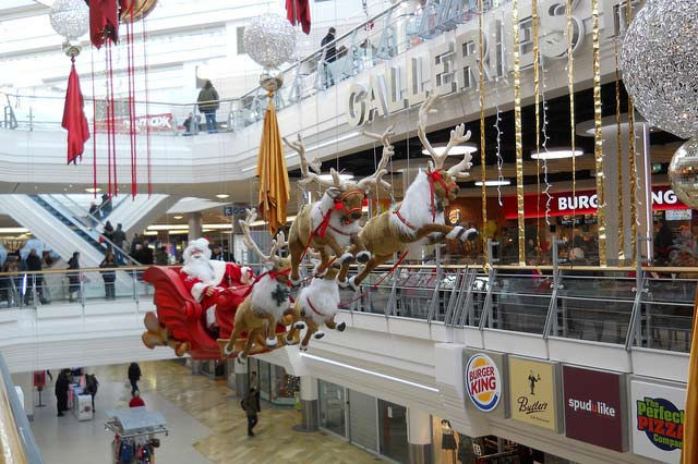 Christmas decorations in The Galleries, a shopping mall in Bristol.