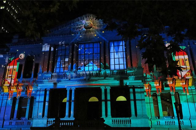 Christmas projections at Sydney Town Hall