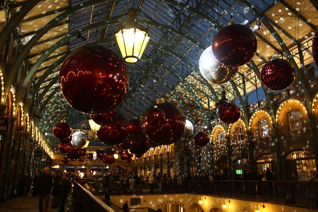 Christmas decorations in the Covent Garden market, London