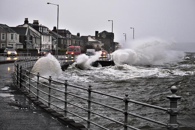 Dunoon seafront during the windy weather