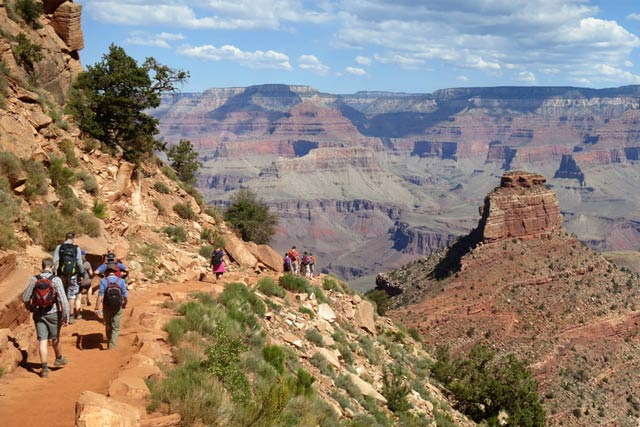 Hikers descending South Kaibab Trail in Grand Canyon National Park