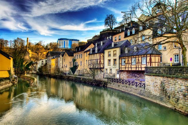 Alzette river located between Luxembourg and France.