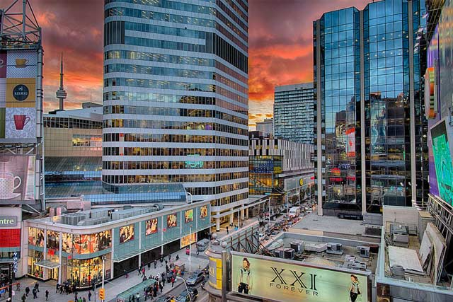 Toronto's Eaton Center, Yonge and Dundas Square, with the CN tower in the background.