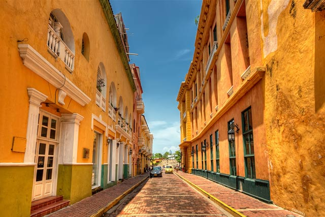 Yellow buildings in Cartagena, Colombia