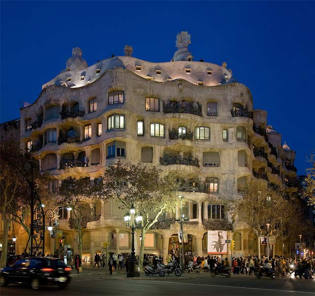 Casa Milà at dusk in Barcelona, Spain