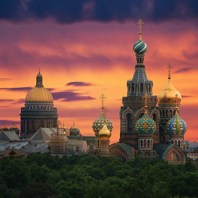 St.Isaac's cathedral and Church of the Savior on Spilled Blood