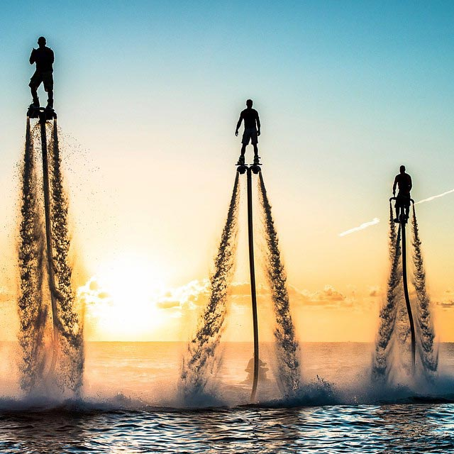 Flyboard at sunset in miami