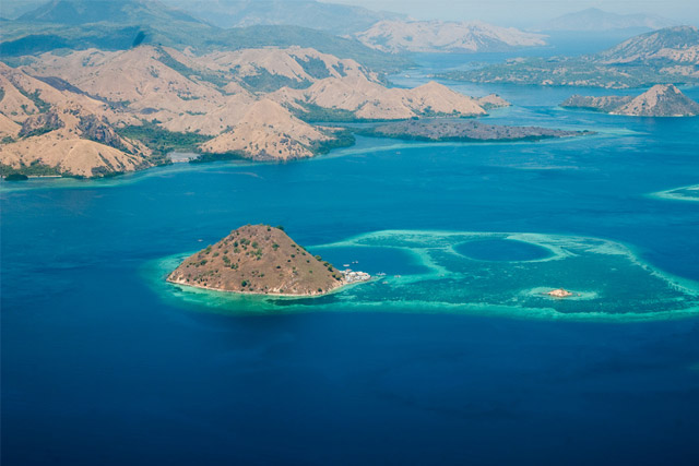 Aerial view of Komodo island
