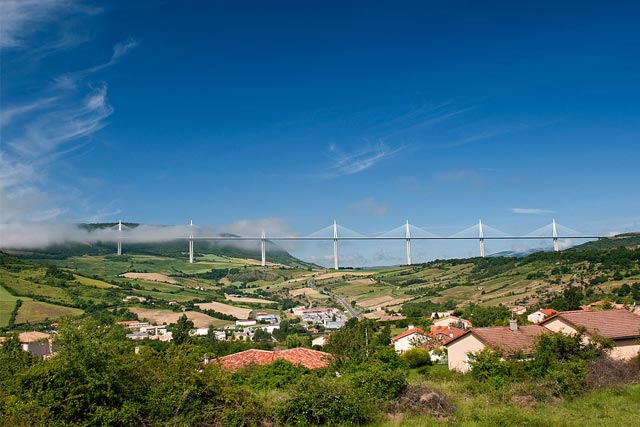Views of Millau-Creissels with the Millau Viaduct in the background