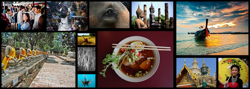 Collage with various symbols of and attractions in Thailand