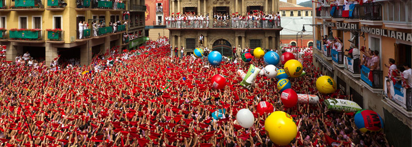 The festival of San Fermín in the city of Pamplona