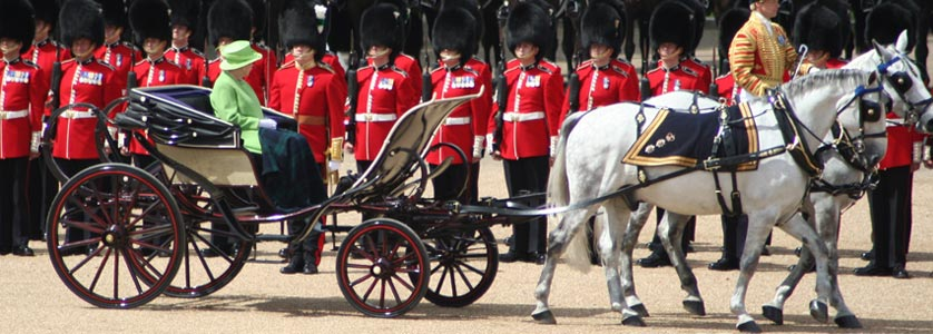 Queen Elizabeth II taking part in the Trooping the Colour military parade