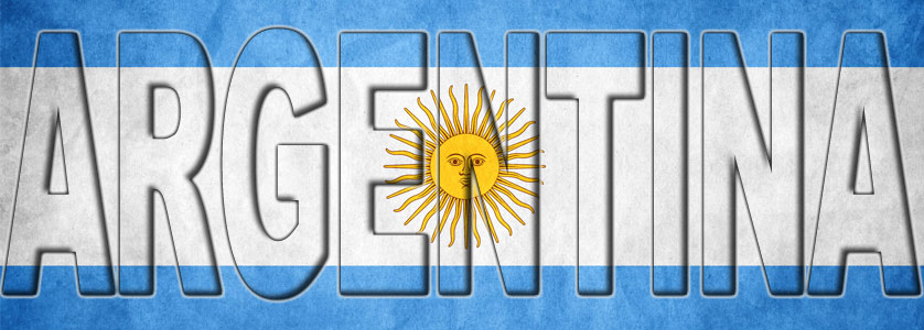 The title Argentina filled with the Argentinian flag