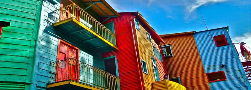 The famous multi-colored houses in the La Boca neighborhood, Buenos Aires
