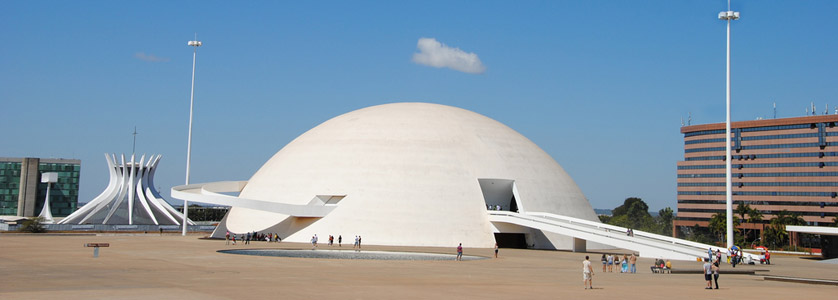 National Museum and the Cathedral of Brasilia in Brasilia, Brazil