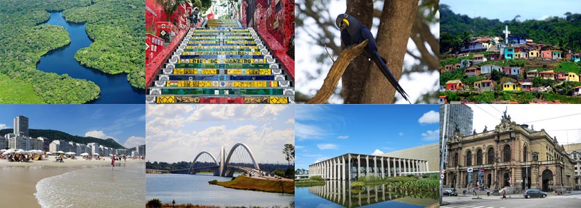 Photo collage with some attractions in Brazil