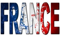 The word France filled with the French flag