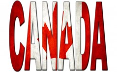 The word Canada filled with the Canadian flag
