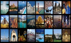 Collage with some attractions in North America