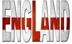 The word England filled with the English flag
