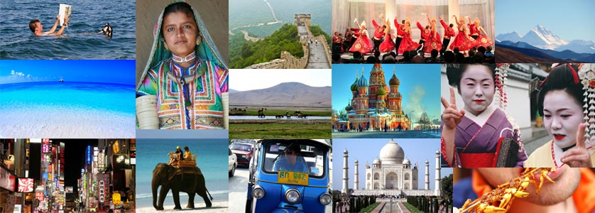 Photo collage with some attractions in Asia